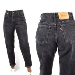 Levi's 551 High Rise Relaxed Tapered Black Denim
